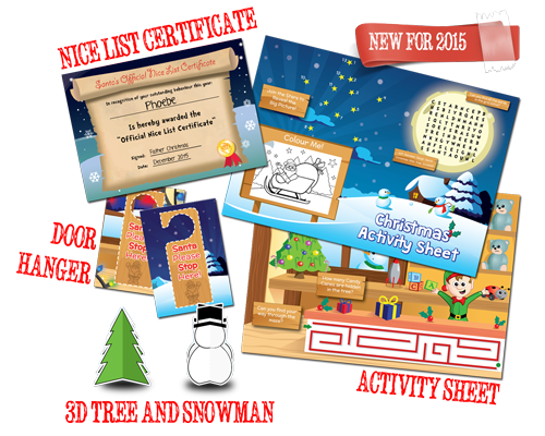 Add an Activity Pack, Nice List Certificate, Door Hanger, 3D Tree and Snowman