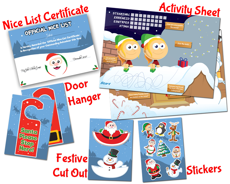 Add an Activity Pack, Nice List Certificate, Door Hanger, Festive Finger Puppets, Santa Selfie