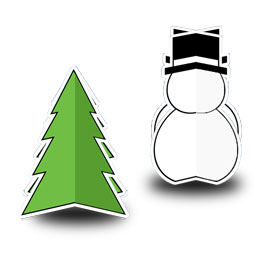 Christmas Tree and Snowman Cutouts