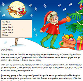 Example Letter with an elf hanging a bauble on a Christmas Tree and Santa Claus riding his sleigh in the background
